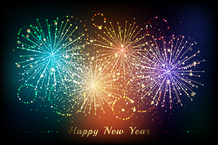New year fireworks background. Colorful celebration vector illustration with flashes and sparklers elements. Illustration