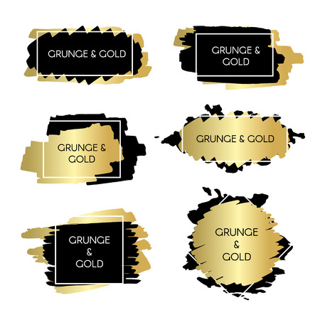 Gouden en zwarte inkt verf grunge designelementen, vakken en frames voor tekst. Stock Illustratie