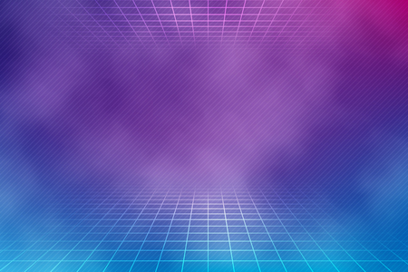 Retro neon background in pink and blue colors with smoke texture. Vector illustration in 80s style.