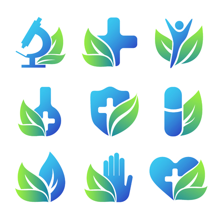 Nature healthcare emblems collection. Conceptual medical icons.