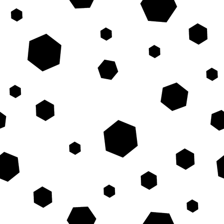 chaos: Geometric seamless pattern. Monochrome randomly abstract vector texture with hexagon dots