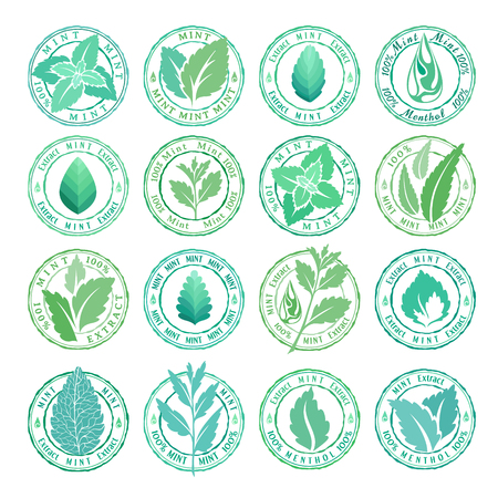 Mint leaves badges, stamps and stickers collection Illustration