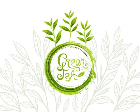 Groene thee banner met inkt grunge lettering design element en bladeren in lijn kunst stijl Stock Illustratie