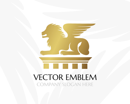 version: Lion with wings on the pillar. Law firm logo template. Concept for legal firms, notary offices, justice companies, banks. Golden version