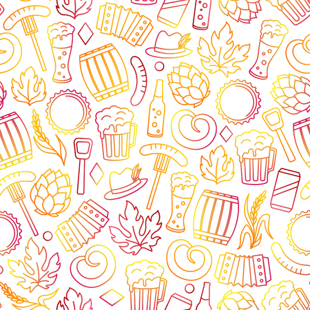 Oktoberfest seamless pattern from colorful line art icons of of beer festival, brewery objects and Bavarian and Germany traditional symbols.