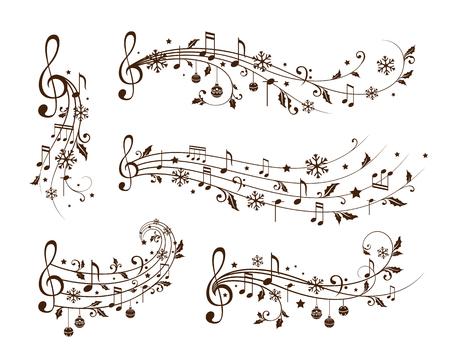 Elementos de decoración de Navidad forman notas musicales, hojas de acebo y copos de nieve. Divisores de vacaciones de invierno. Variante monocromática Ilustración de vector