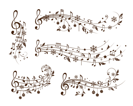 Christmas decoration elements form musical notes, holly leaves and snowflakes. Winter holiday dividers. Monochrome variant Illustration
