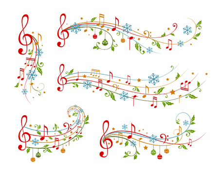 Christmas decoration elements form musical notes, holly leaves and snowflakes. Winter holiday dividers. Color variant