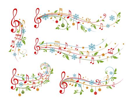 Los elementos de la decoración de la Navidad forman las notas musicales, las hojas del acebo y los copos de nieve. Divisores de vacaciones de invierno. Variante de color