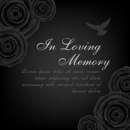 Begrafenis kaart. Zwarte rozendecoratie met vliegende duif op de donkere achtergrond
