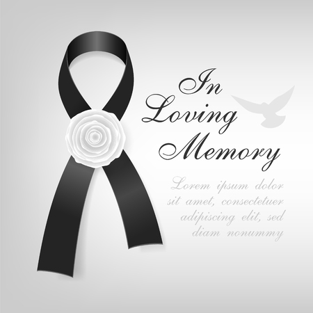 Funeral card. Black awareness ribbon with white rose flower on the light background Vector Illustration
