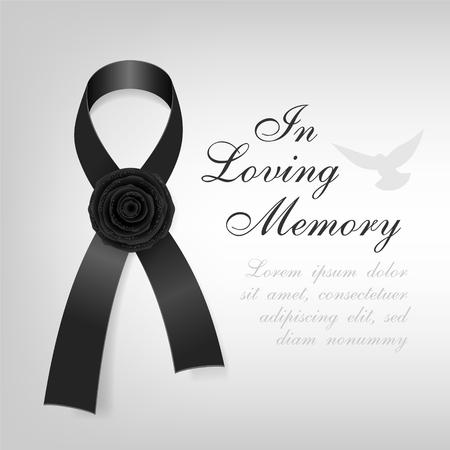 葬儀のカード。ブラック啓発リボン光の背景に黒のバラの花