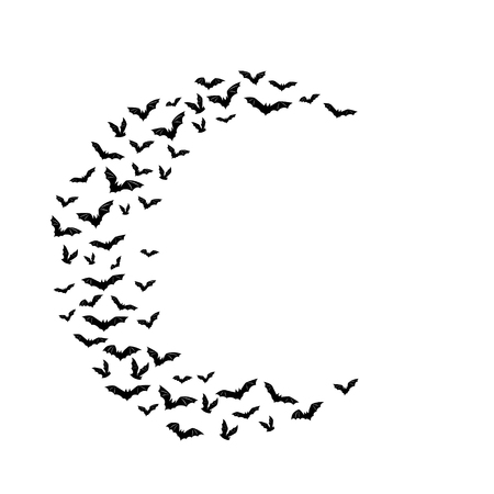 Halloween flying bats, Decoration element from scattered silhouettes, Half moon shape Çizim