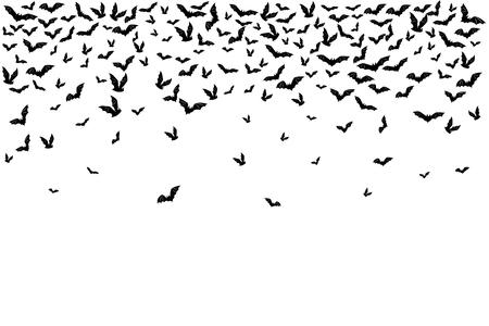 Halloween latające nietoperze. Element dekoracyjny z rozproszonych sylwetek. Górna granica.