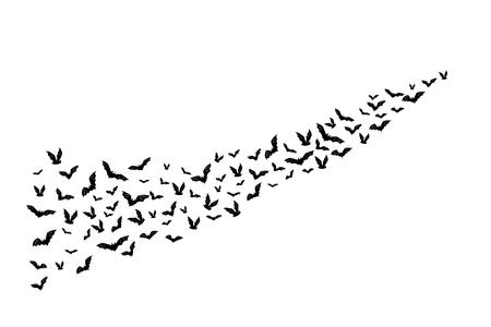 할로윈 비행 박쥐입니다. 흩어져있는 실루엣의 장식 요소 일러스트