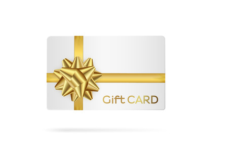 Gift white card with golden ribbon. Template vector illustration Illustration