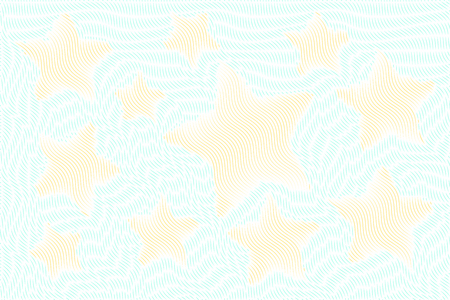 Certificate texture. Sea stars with waves. Background with thin line pattern