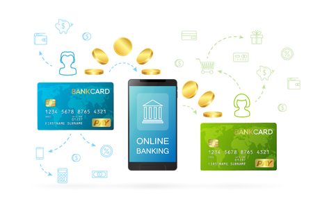 Money transfer or online banking conceptual vector illustration. Process of sending money from one person,s bank card to another person's bank card using online banking Stock fotó - 86527001