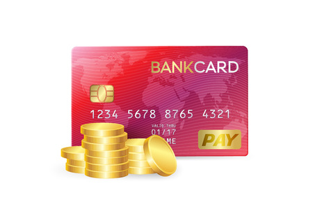 Credit card with gold coins stack. Money deposit conceptual illustration