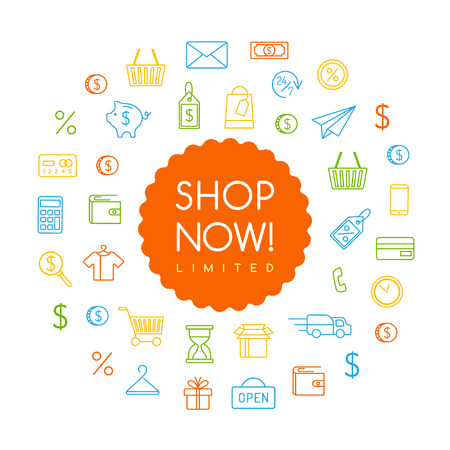 Shopping concept. Vector illustration with shop now text, label and line art icons.