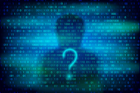 Anonymous silhouette with question symbol on the blue with binary code texture. Cybercrime and cyber security conceptual illustration. Illustration