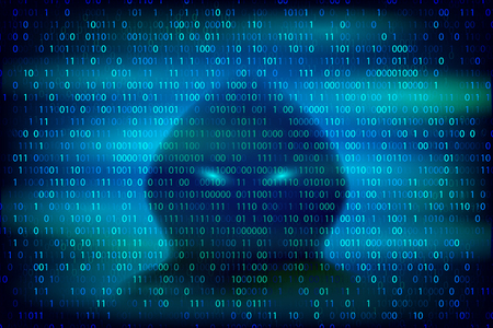 Hacker silhouette on the blue background with binary code texture. Cybercrime and cyber security conceptual vector illustration.