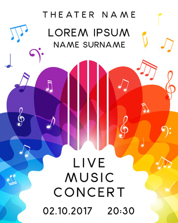Music concert poster design. Vector template for flyer, banner, invitation.