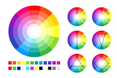 Illustration de palette de roue de couleur. Vecteurs