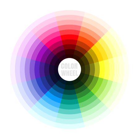 Color wheel illustration of color theory concept.
