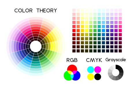 Color wheel and color palette illustration. Stock Illustratie