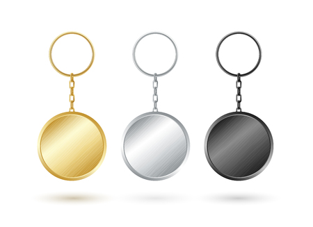 Keychain collection round shape in gold,silver and black metallic design.