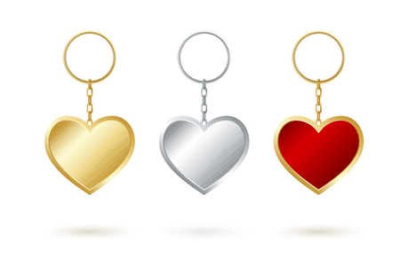 Heart shape keychain collection in gold, silver and red keyholders.