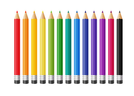 Colored pencils collection illustration. Stock Illustratie
