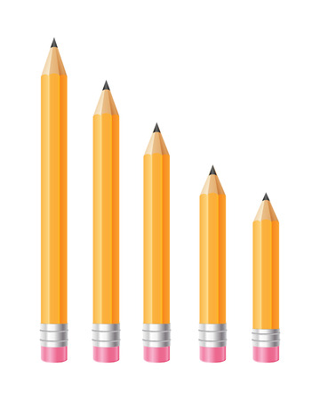Set of different size pencils illustration in realistic style.