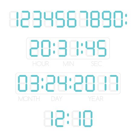 デジタル数字、日付と時刻。電子デバイスのテンプレートです。