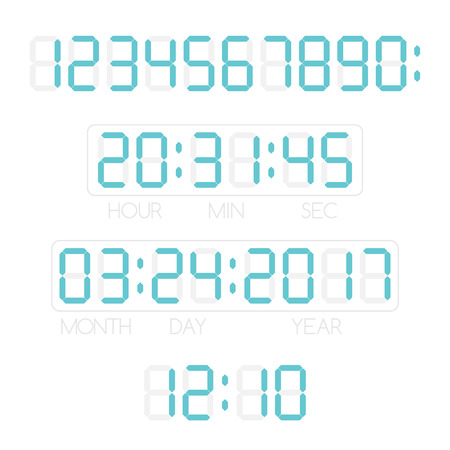 Digital numbers, time and date. Template for electronic device.