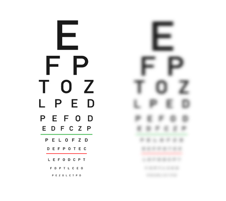 Eye Test Chart Focus And Defocus Variants Royalty Free Cliparts