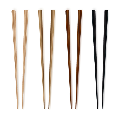 Chopsticks. Realim style. Traditional wodden japanesse food utensils. Vettoriali
