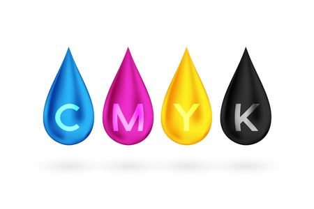 CMYK color drops vector illustration set 向量圖像