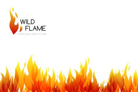 Horizontal banner with bottom flame border decoration Vector illustration