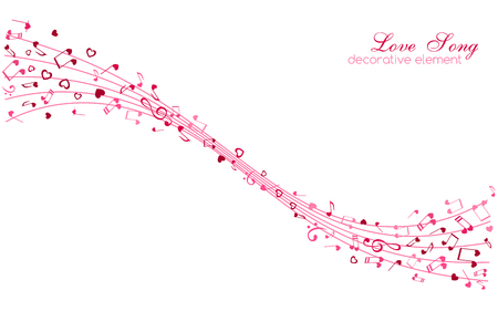 Hearts and Notes on the wavy lines. Love Music decoration element isolated on the white background. Иллюстрация