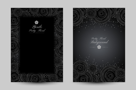 Luxury cards with black glamour roses and platinum confetti. Vertical posters with frame and borders decoration.