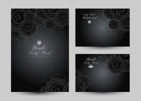 Luxury backgrounds with black glamour roses and platinum confetti. Banners collection. Vertical poster and gift cards. Illustration