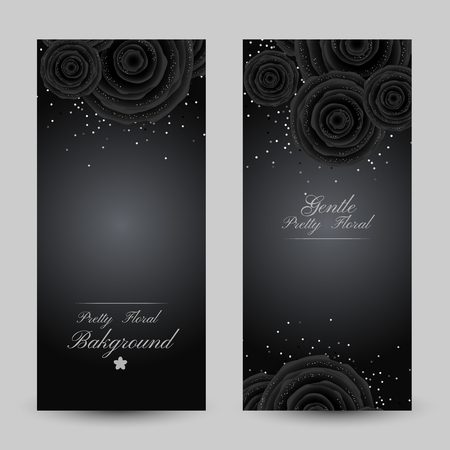 Luxury cards with black glamour roses and platinum confetti. Vertical flyers with copy space