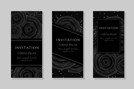 Luxury cards with black glamour roses and platinum confetti. Vertical banners. Invitation template