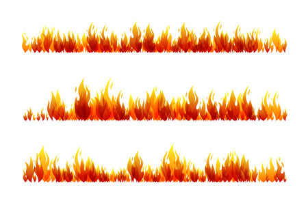 Fire design collection. Horizontal dividers set. Vector illustration. Vettoriali