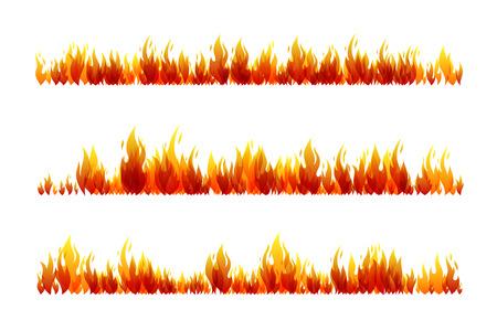 Kolekcja projektowania ognia. Zestaw poziomych przegródek. Ilustracji wektorowych.