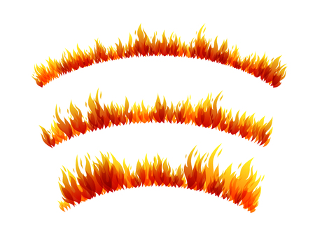 Fire design collection. Arc borders Vector illustration.