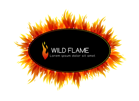Fire Design collection. Oval frame with decorations and emblem Vector illustration