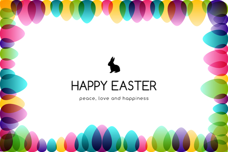 Easter eggs. Design collection. Horizontal banner with frame border decoration